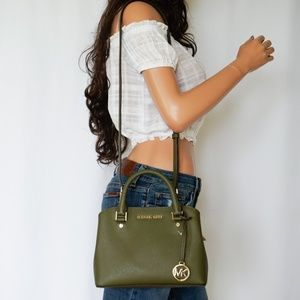 Michael Kors Savannah Satchel Shoulder Bag Green